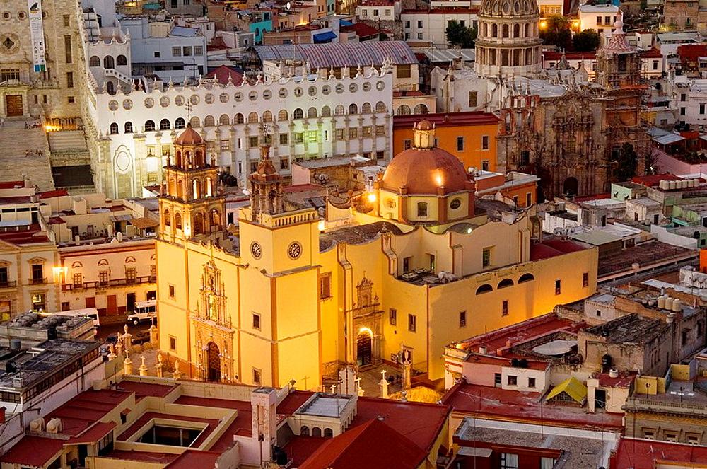 Historic town of Guanajuato, Cathedral Nuestra Senhora de Guanajuato and the university at night, Province of Guanajuato, Mexico, UNESCO World Heritage