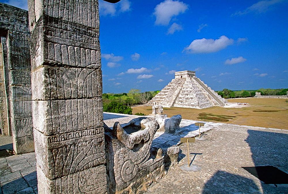 View of El Castillo from the  Warriors Temple (UNESCO World Heritage), Chichen Itza, Yucatan, Mexico.