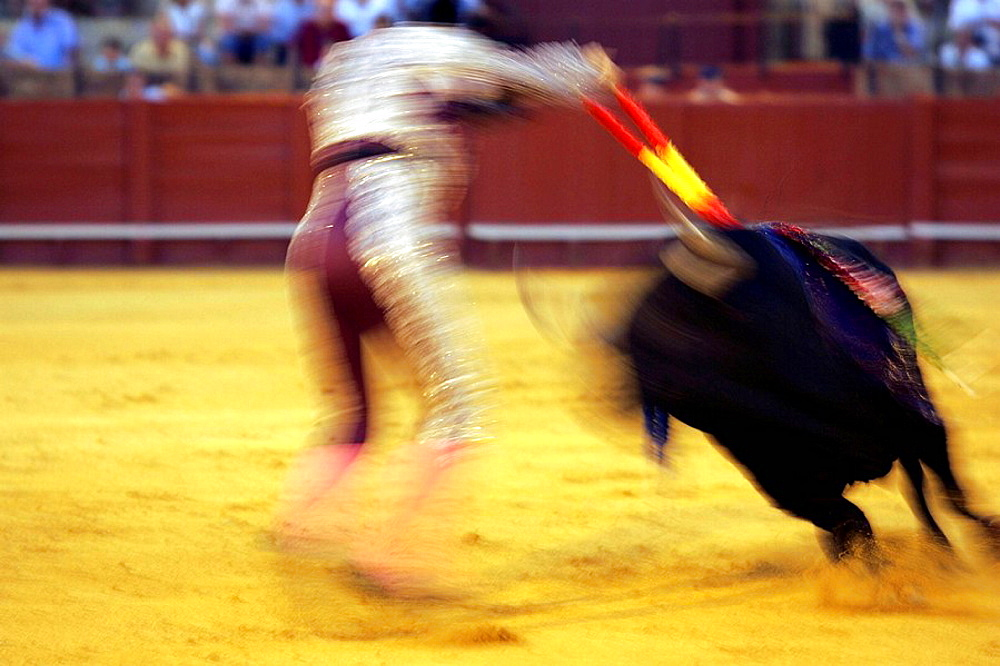 Motion blurred action of a banderillero, bullfight in the Real Maestranza bullring, Seville, Spain