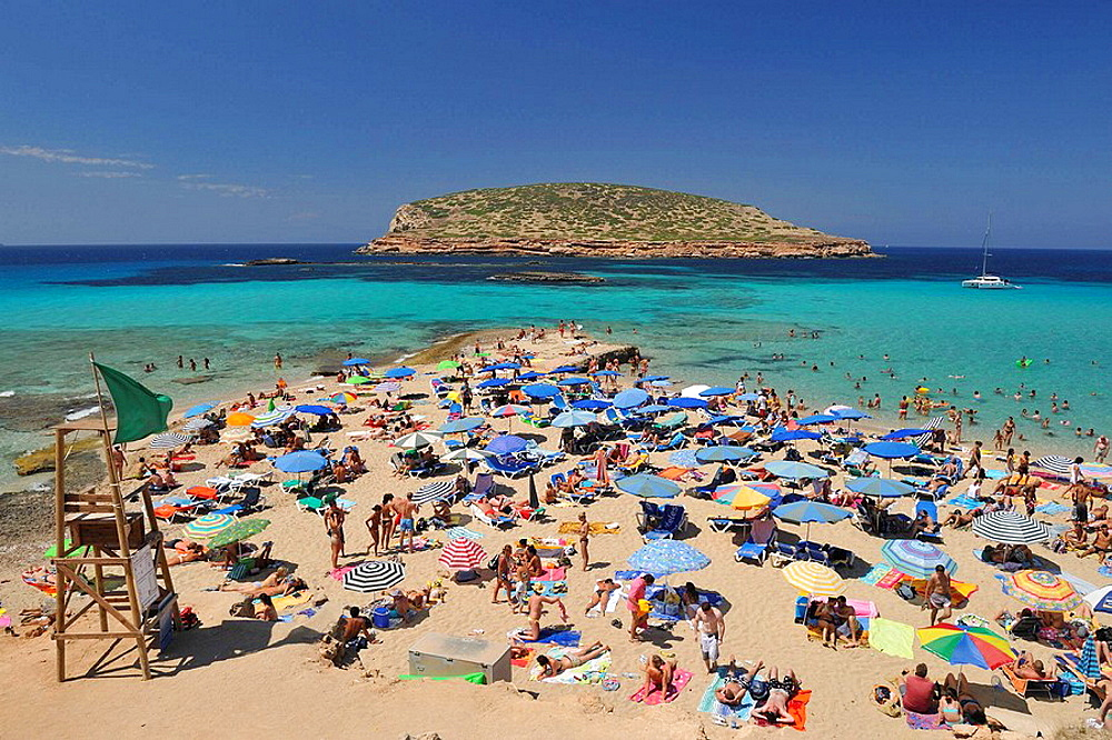 Panoramic view of Playa Compte to Ibiza, Spain.