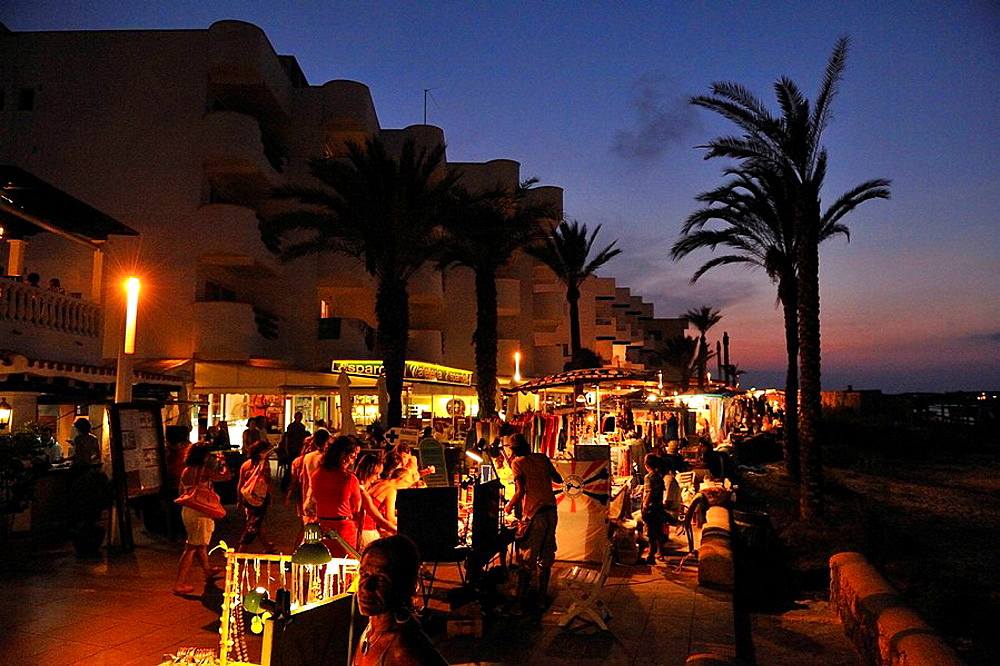 Night market on the promenade of Es Pujols in Formentera, Spain.