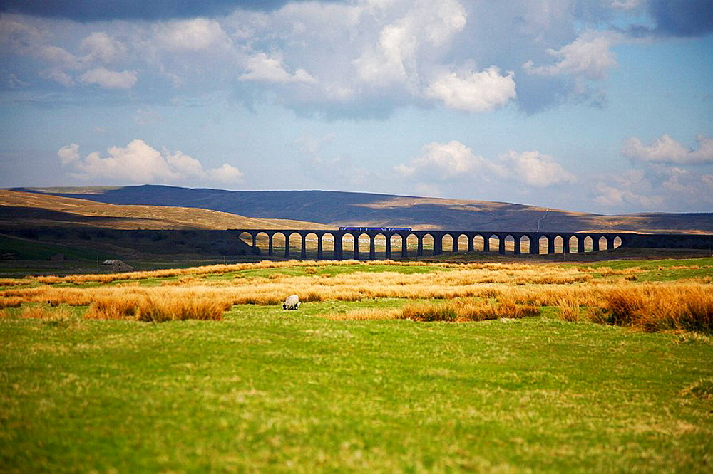 View of train crossing the viaduct on the Settle-Carlisle railway line