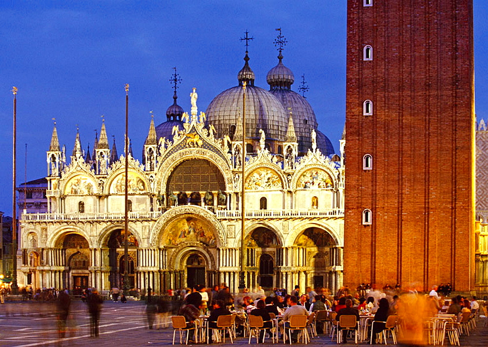 St, Mark's Square, People at Caffe Florian with St, Mark's basilica, Venice, Veneto, Italy
