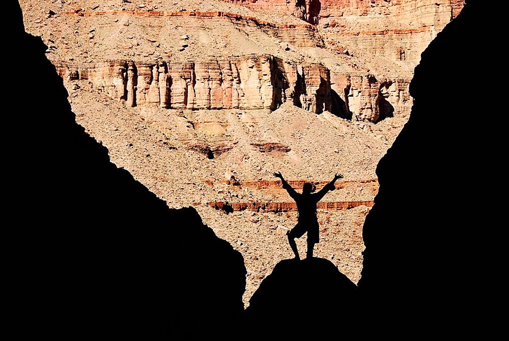 Lone female hiker Elves Chasm, Grand Canyon National Park, Arizona, United States