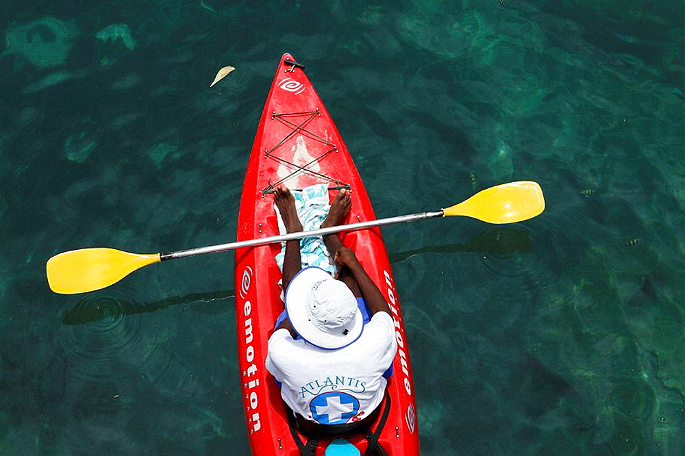 Bahamas, New Providence Island, Nassau: Atlantis Resort, Paradise Island Swimming pool Lifeguard