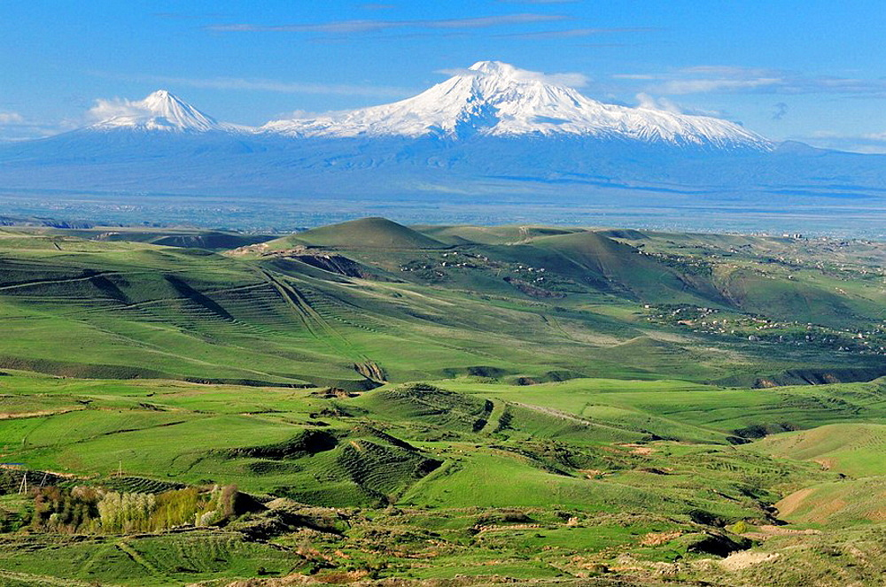 view over the Araratian Plain towards Mount Ararat, Armenia, Asia