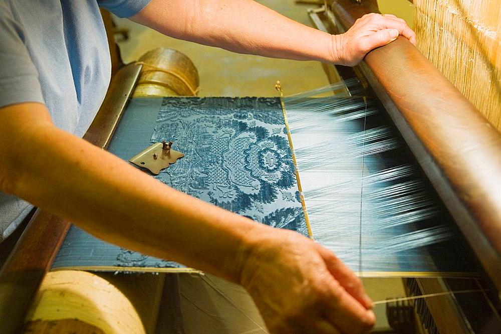 Croix Rousse: Maison des Canuts, working to an ancient loom, Lyon, Rhone-Alpes, France