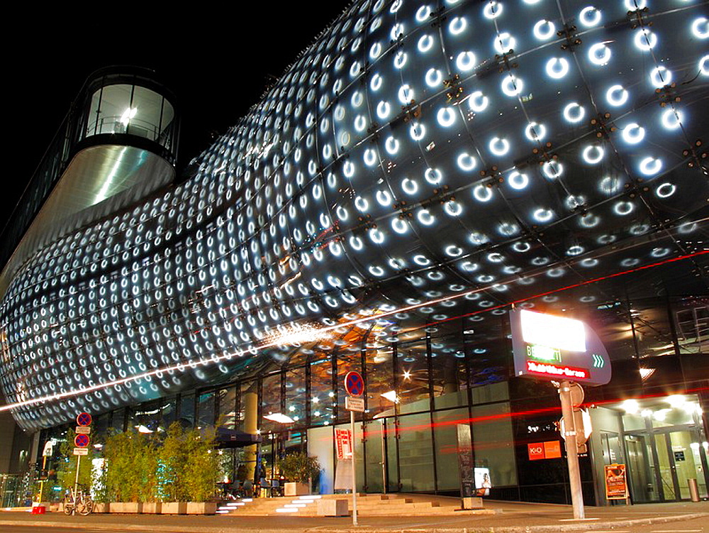 The Kunsthaus Museum of Contemporary Art in the city of Graz in Austria at night