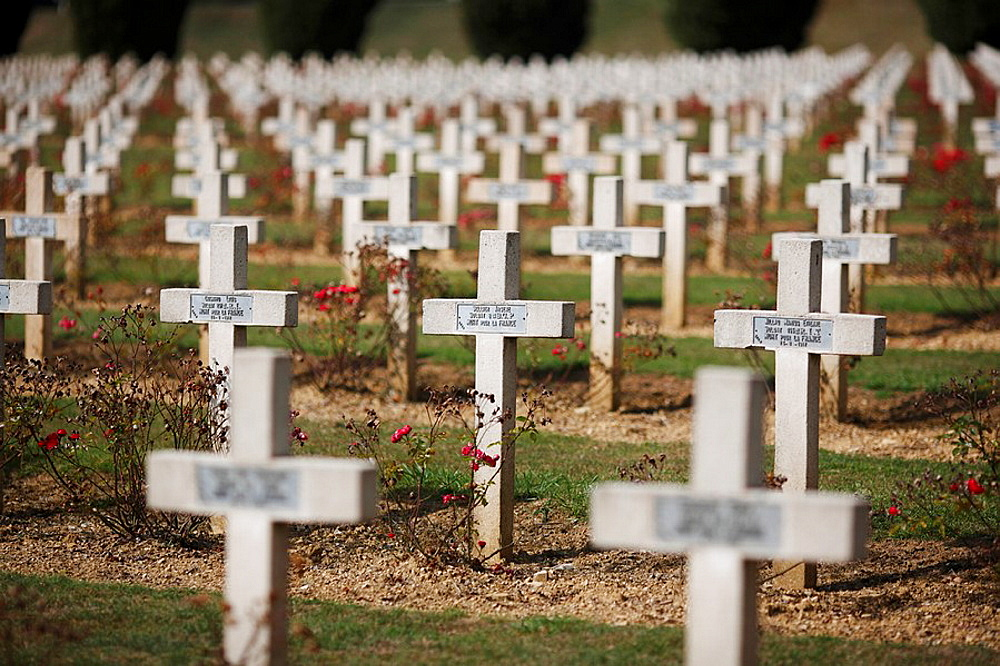 Crosses marking the graves of French soldiers in the military cemetery at the Ossuaire de Douaumont near Verdun in France
