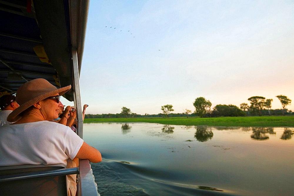Wildlife spotting cruise in the Yellow Water Wetlands  Cooinda, Kakadu National Park, Northern Territory, Australia