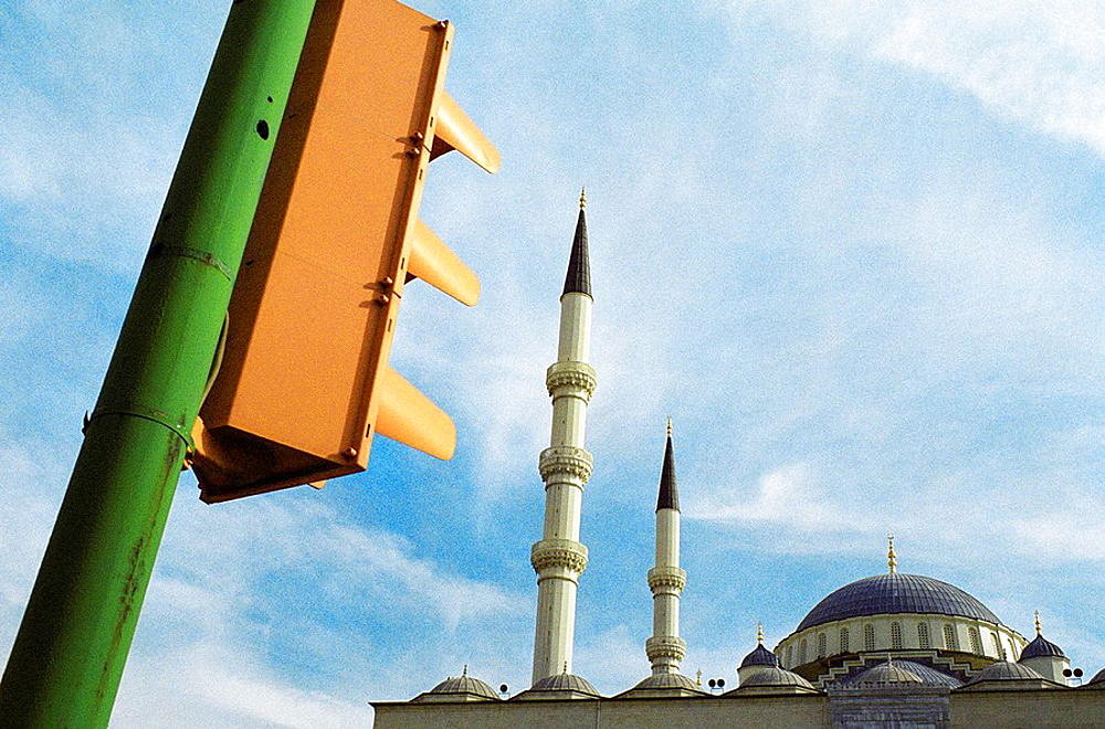 View of a semaphore and Minarets from Kocatepe Camii, the religious symbol of Ankara