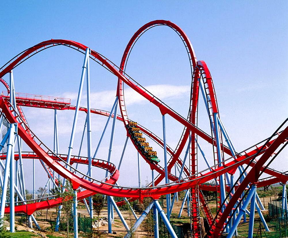 Dragon Khan Roller Coaster, Chinese area, Universal Port Aventura theme park, Tarragona, Catalonia, Spain