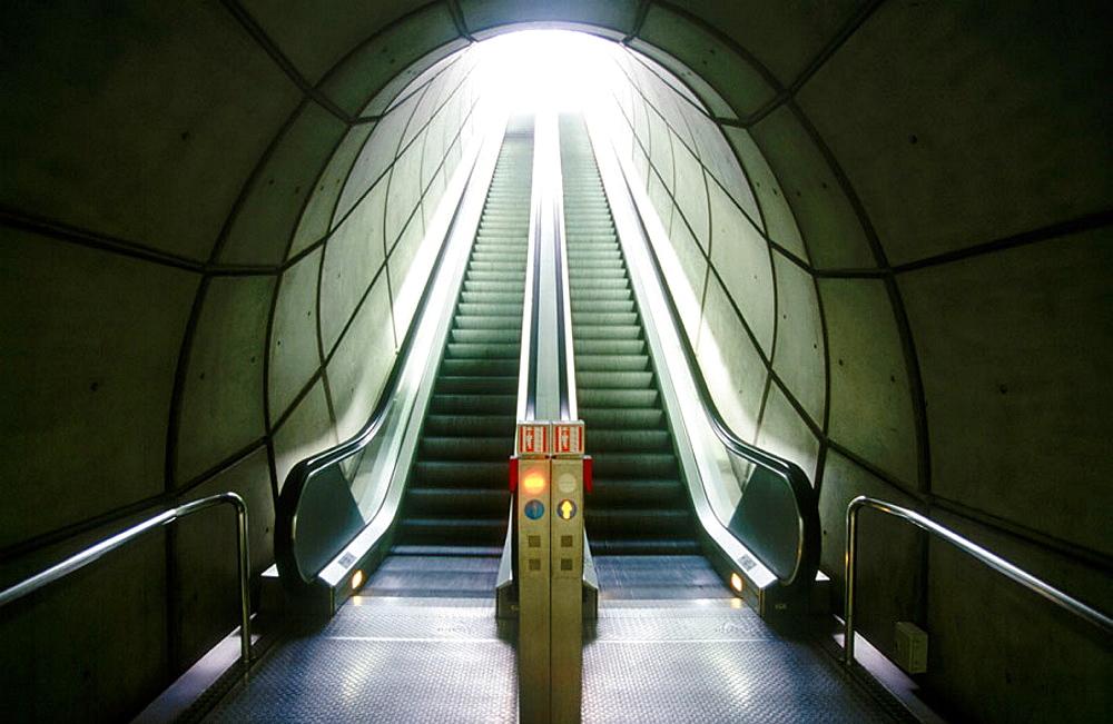 Escalators, subway, Bilbao, Biscay, Euskadi, Spain