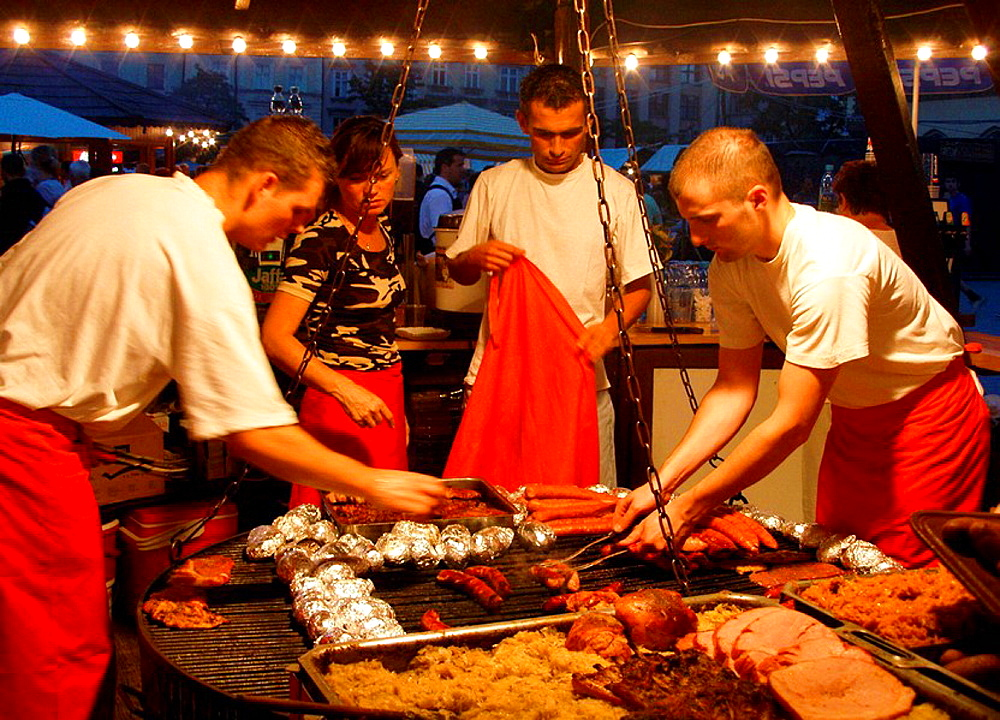 Poland Krakow Food at Main Market Square