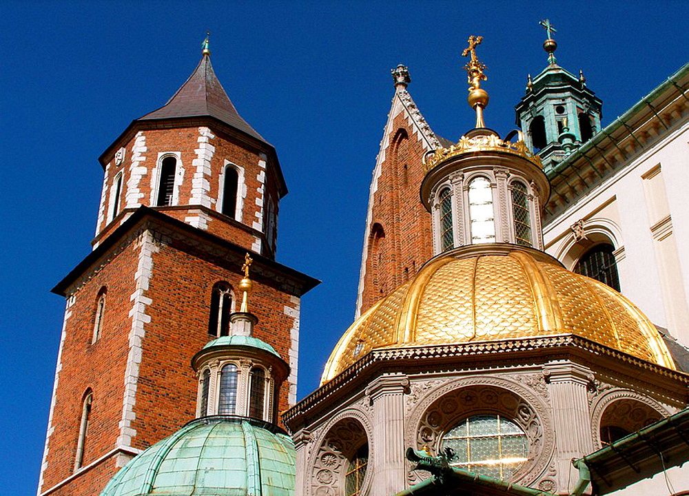 Sigismunds Cathedral and Chapel as part of Royal Castle at Wawel Hill, Krakow Poland