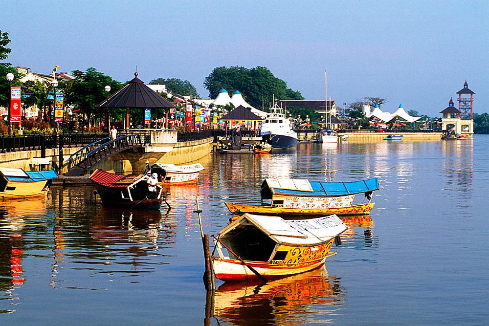 Riverfront, boats, Kuching, Sarawak, Borneo, Malaysia.