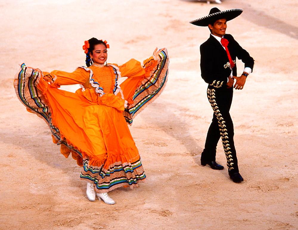 Fiesta, people in traditional dress, Yucatan, Mexico