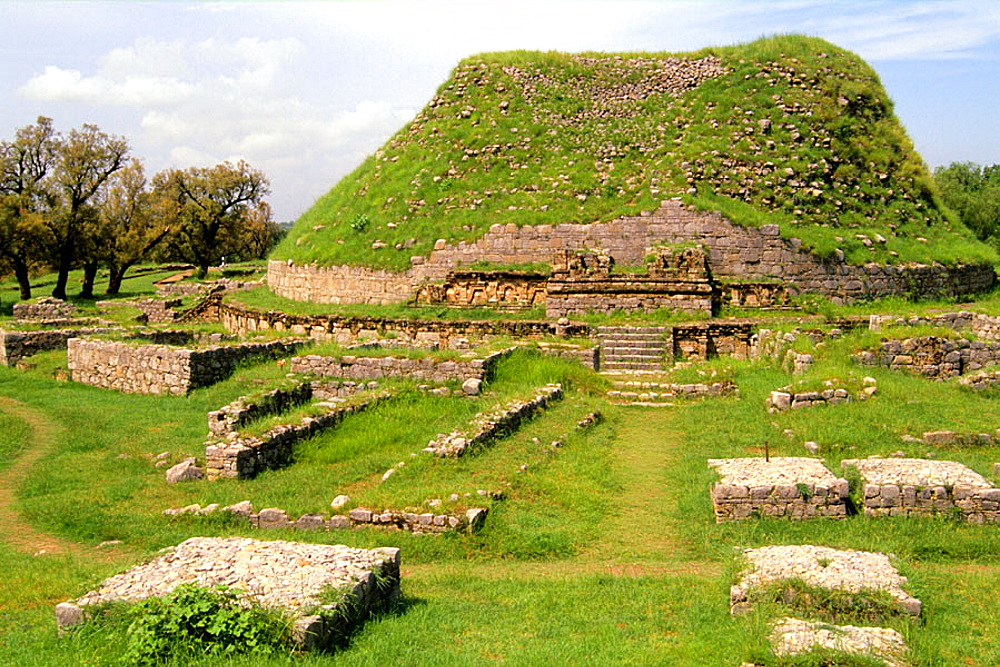 Ruins of Dharmarajika Stupa, a historic Buddhist monument in Taxila, Punjab, Pakistan