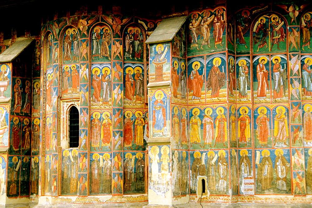 Wall painting, Moldovita Monastery, Bucovina, Romania