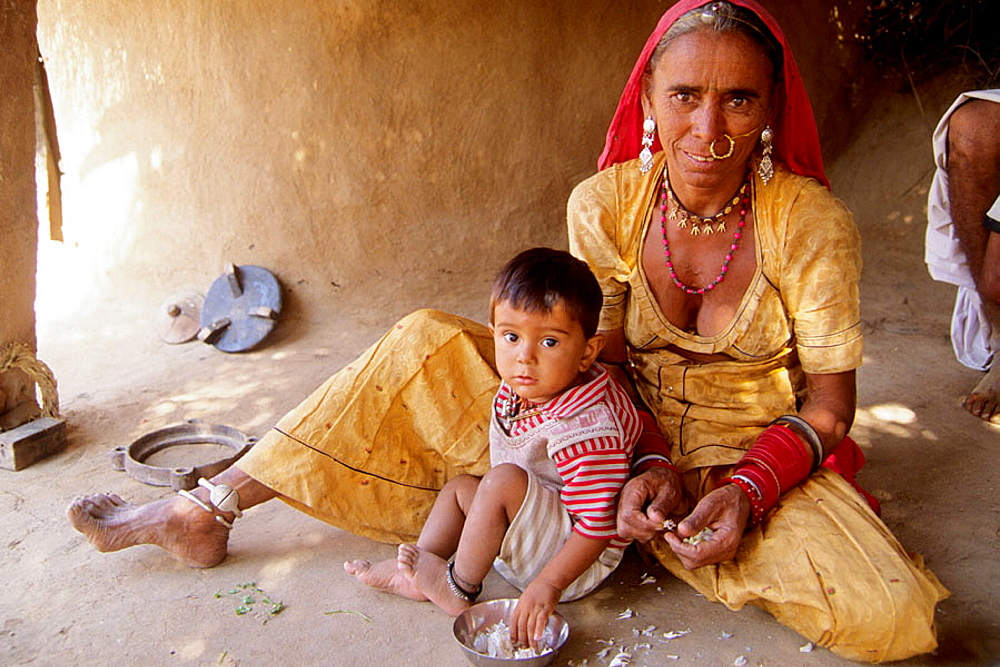 Village woman and child, Rajasthan, India.
