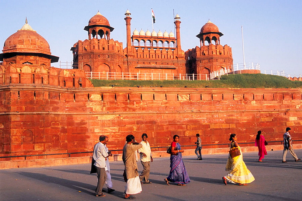Lal Qila, Red Fort, Lahore Gate, people, Delhi, India