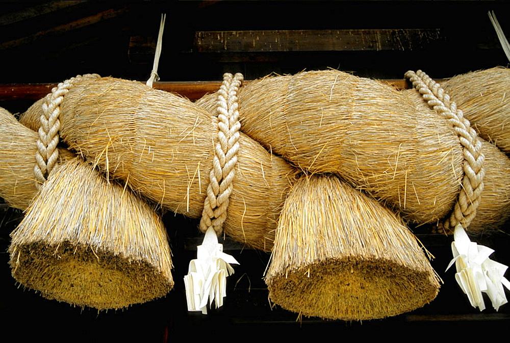 Sacred cord, Izumo Taisha shinto shrine, Izumo, Japan