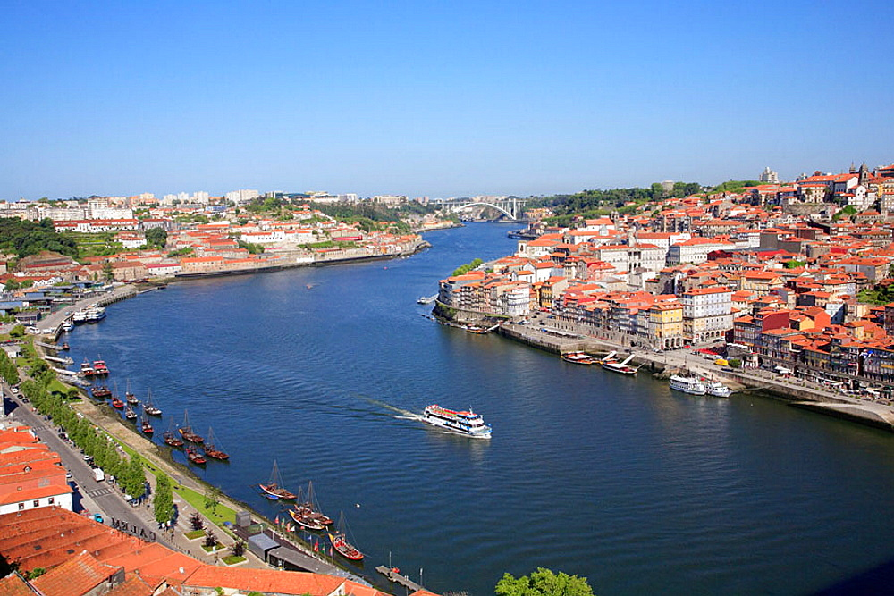 Portugal, Douro, Porto, general aerial view, Douro river