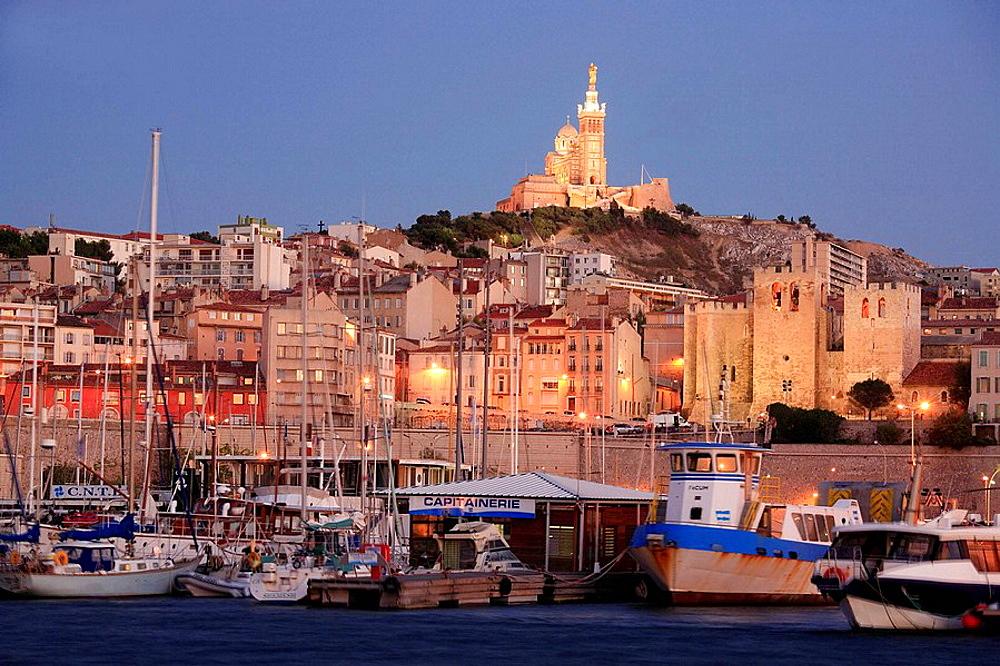 Vieux Port harbor, Notre Dame de la Garde basilica, Marseille, Provence, France.