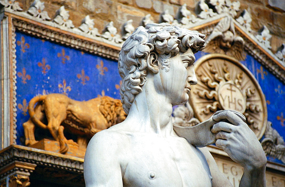 Statue of David by Michelangelo (copy), 1501 - 1504, Piazza della Signoria, Italy, Florence,