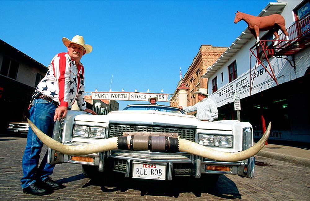 Cowboy car, Fort-Worth Stockyards, Texas, USA