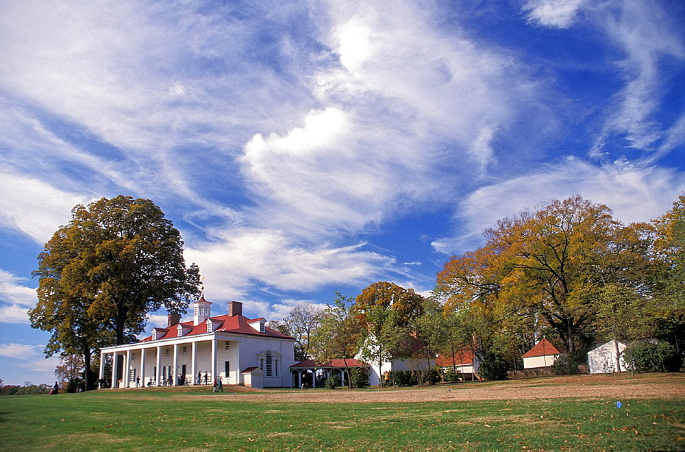 the back view of George Washington;s home at Mount Vernon, Virginia.