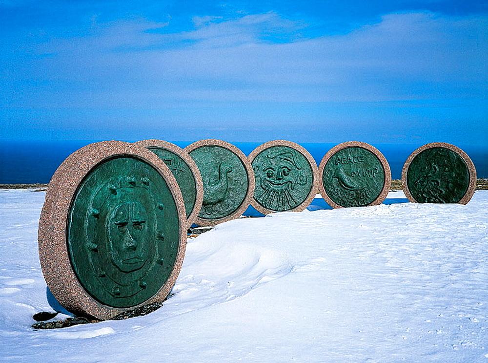 Landmark monument, North Cape, Norway