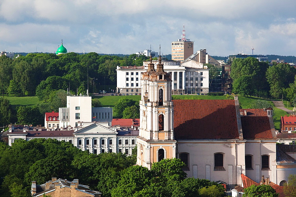 Lithuania, Vilnius, elevated city view with the Church of St Philip and St Jacob, morning