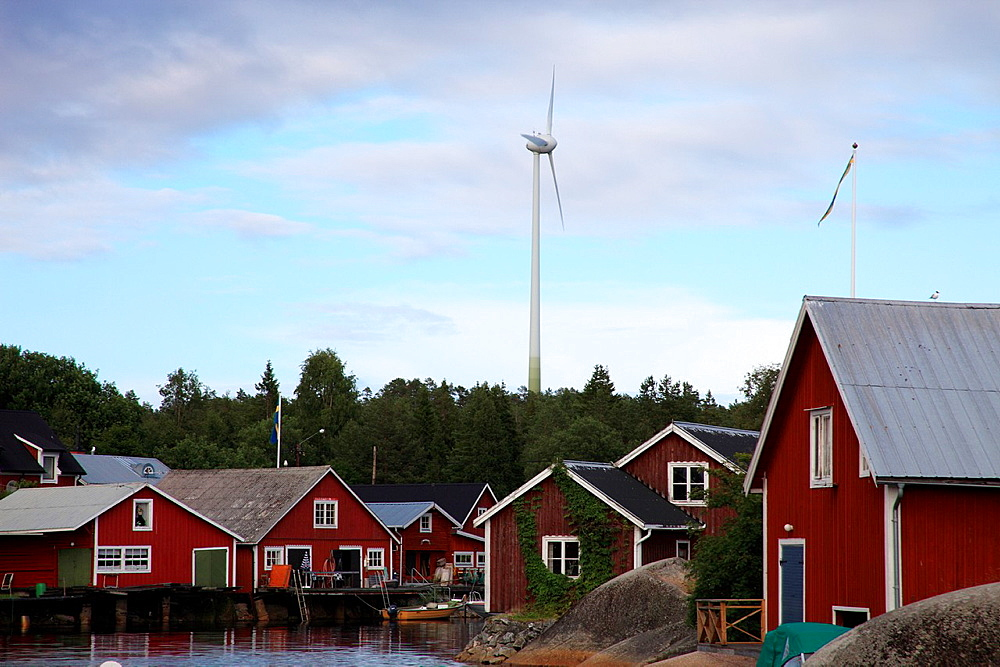 Small wind-turbines provide energy to the fishing port Skeppsmalen at the High Coast in Sweden.
