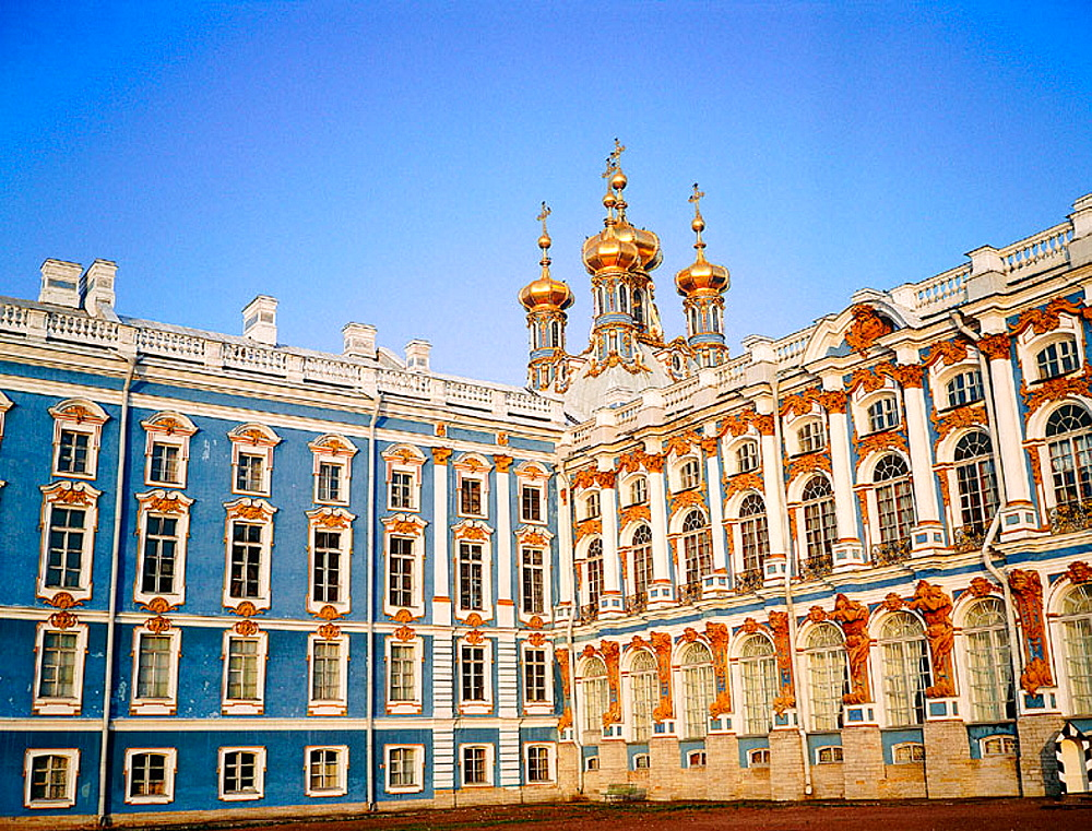 Facade on the back yard of Catherine Palace, Pushkin, St, Petersburg, Russia