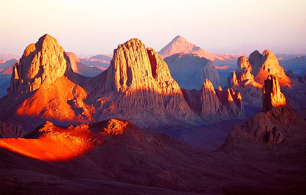 Atakor Mountains seen from father Charles de Foucault ermitage at sunset, Assekrem col, Hoggar, Sahara desert, Algeria