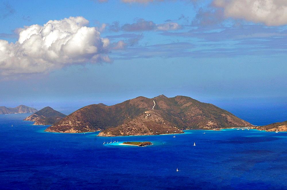 Jost Van Dyke Island viewed from Tortola BVI Caribbean Sea