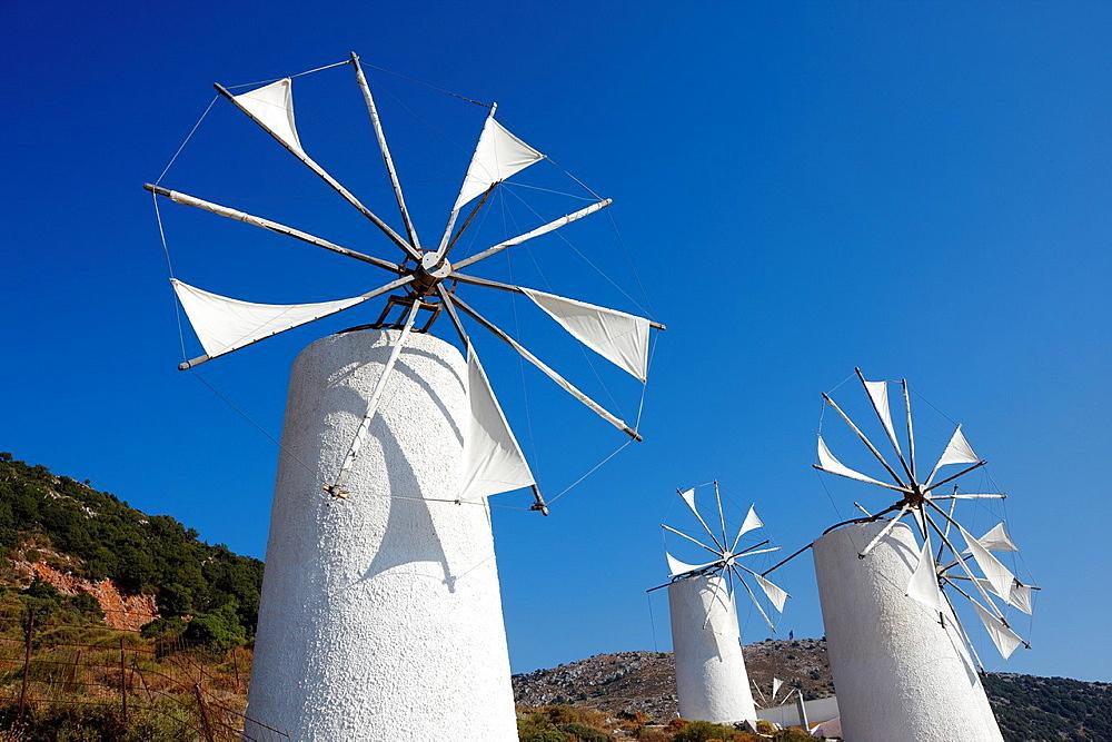Windmills Lasithi Plateau, Crete, Greece