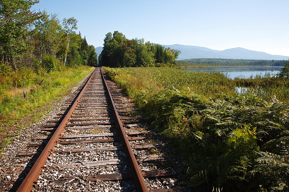 Pondicherry Wildlife Refuge, Railroad tracks next to Cherry Pond in Jefferson, New Hampshire USA This refuge was designated a National Natural Landmark in 1974 by the National Park Service