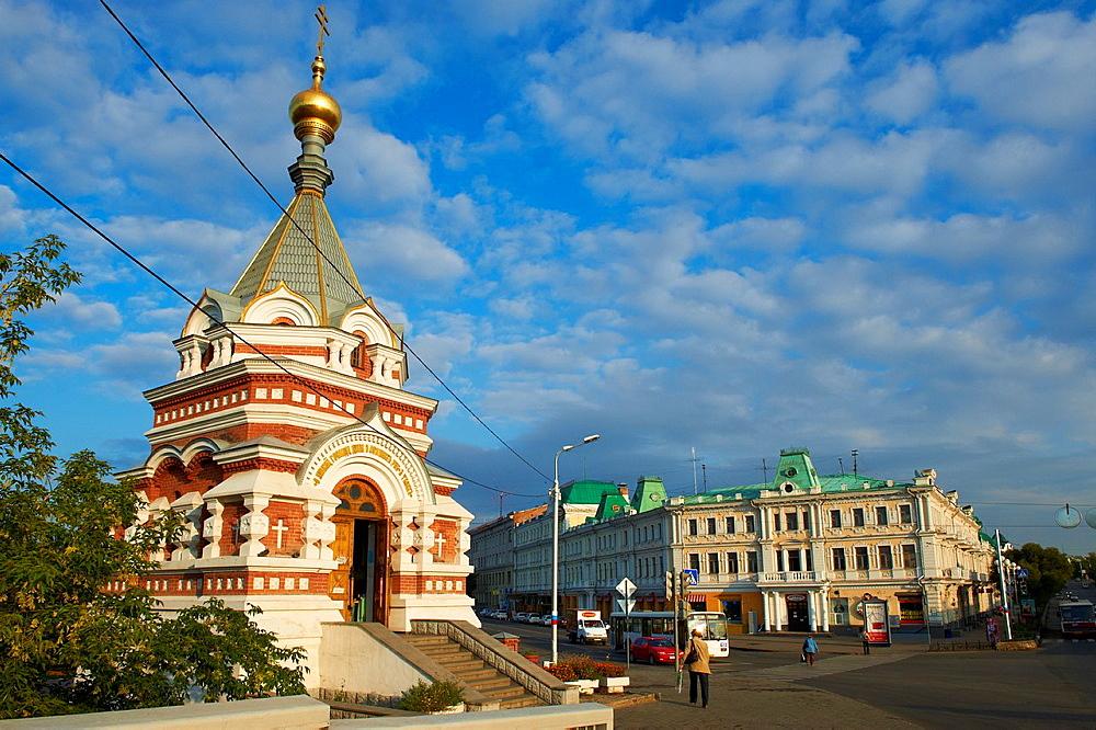 Russia, Siberia, Omsk, Lenin Street, Serafimo Alexievskaia church