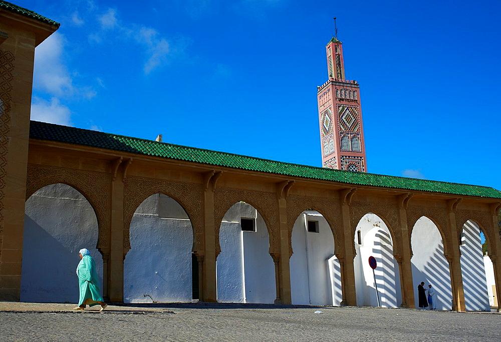 Morocco, Tangier Tanger, new city, Grand Socco square or April 9, 1947 square, Sidi Bou Abid mosque