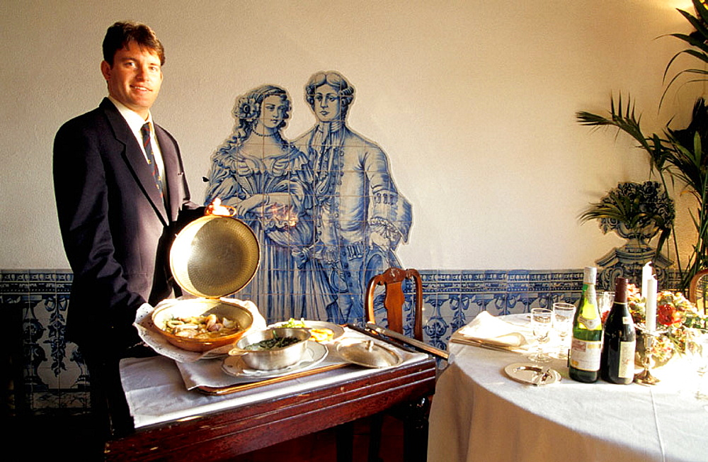 Vaulted room with azulejos on the walls, Upscale and historic restaurant inside Saint George Castle, Lisbon, Portugal