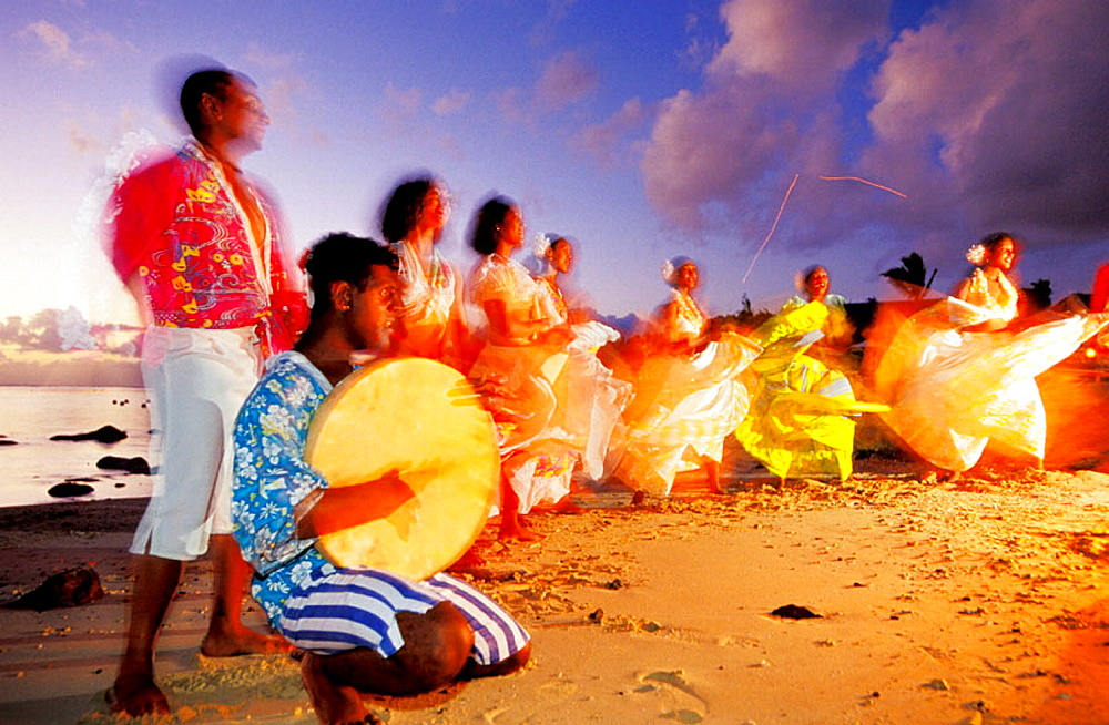 Sega Ravanne, the most traditional and typical dance, performed on a beach at sunset around a campfire, Mauritius - 817-25900