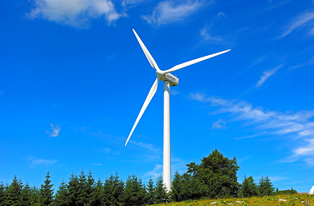 Wind turbine for generating renewable energy on the crest of the Jura Mountains, wind farm Mont Crosin, St Imier, Jura, Switzerland - 817-259034
