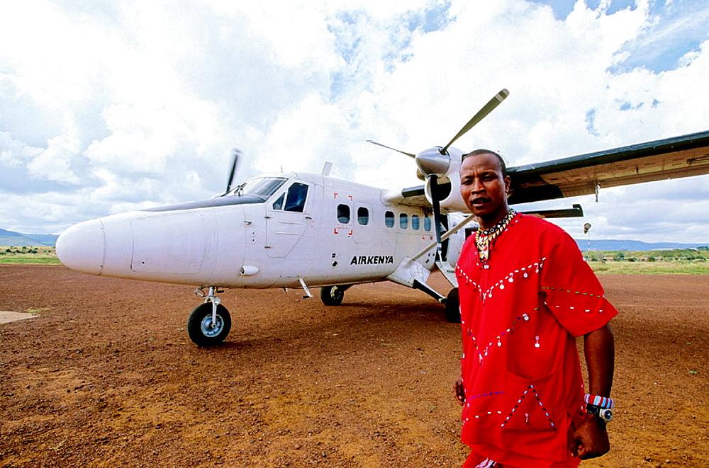 James Ole, Kinyaga senior tour guide and manager at Lewa airstrip, Laikipia Masai Community Conservancy Park, Kenya - 817-26319