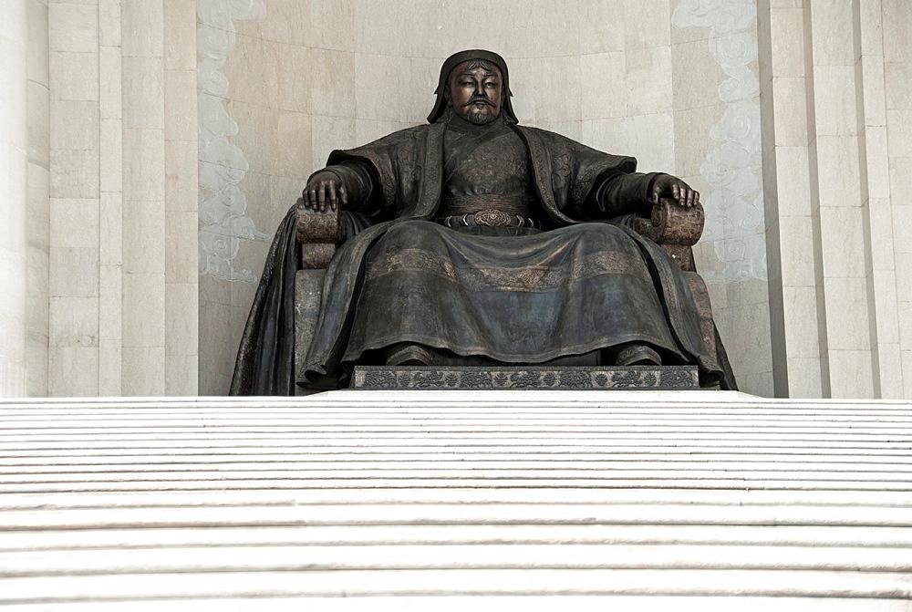 Chinggis Khaan monument at the Parliament Building on Sukhbaatar Square Ulaanbaatar, Mongolia.