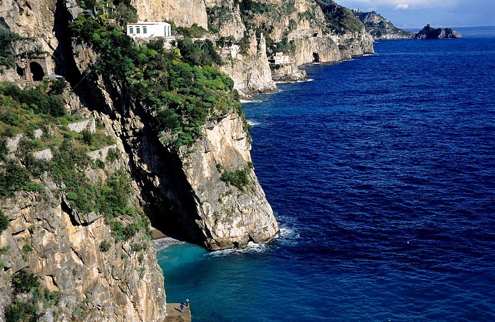 Rocky cliffs on the Tyrrhenian Sea, Praino Village, Amalfi Coast, Italy