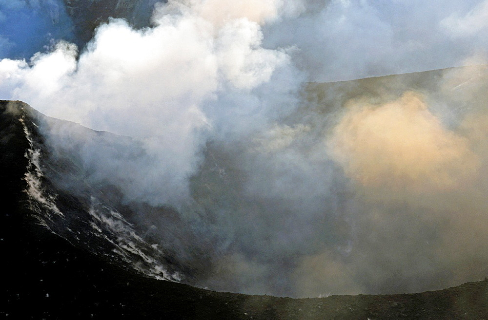 Smoke billowing from the crater of Yasur Volcano, Tanna Island, Vanuatu