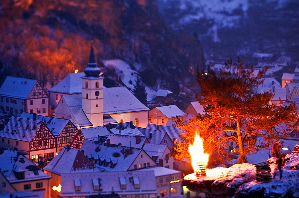 Pottenstein, Franconia, Bavaria, Germany, annual Ewige Anbetung fire festival on the evening of January 6th, 2009 - 817-265881
