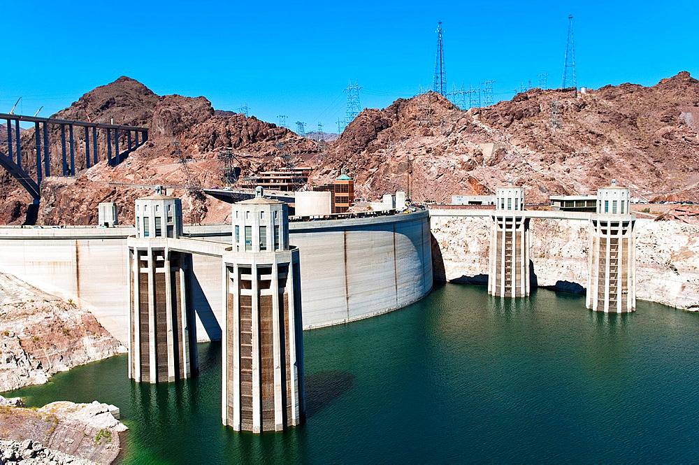 Hoover Dam, Lake Mead Reservoir, Boulder City, Nevada, USA
